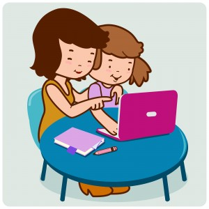 Vector Illustration of a mother and a child sitting on the desk in front of the computer.